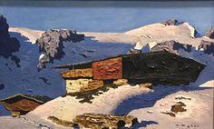 Alfons Walde  Solitary Mountain Farm 1933/34 Mountain Paintings, Vienna, Mount Rushmore, Mountains, Art Art, Winter, Magic, Big, Scenery
