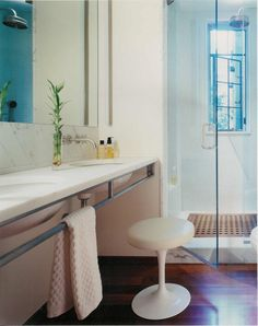 Natural Wood Floor, statuary white marble Bathroom by Peter Brotherton Architect PC