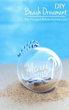 Simple and fun way to preserve vacation memories!  DIY Beach Christmas ornament.  The kids can collect shells and stones and then help assemble these once you get home.