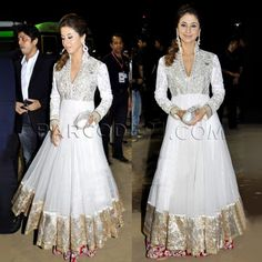 Ivory color anarkali with embroidered yoke by kalki