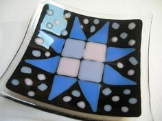 Fused glass Dish Star Patch  11cm - free shipping UK £16.00