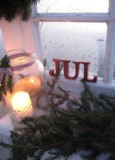 Mason jar, candle and christmas fir branches ❄ Jul (Norwegian Christmas)