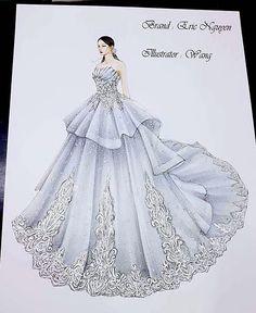Illustration for my client Dress Design Sketches, Fashion Design Sketchbook, Fashion Design Drawings, Fashion Sketches, Art Sketchbook, Fashion Figure Drawing, Fashion Drawing Dresses, Fashion Illustration Dresses, Wedding Dress Drawings