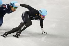 DAY 12:  Eduardo Alvarez of USA competes during the Short Track Men's 500m Qualifications http://sports.yahoo.com/olympics