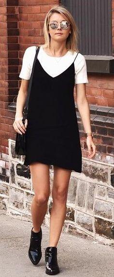 #summer #stunning #outfitideas   White Tee + Black Slip Dress