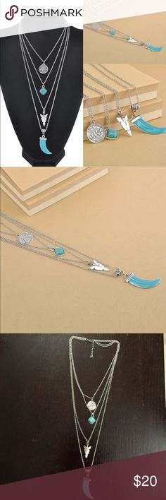 Turquoise silver necklace New.Boho long bar 4 layers turquoise silver necklace Jewelry Necklaces