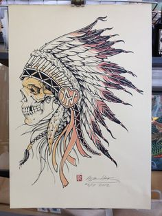 Indian Chief Skull with Warpaint.