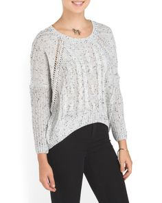 Juniors Pointelle Cable Sweater
