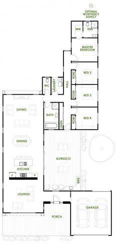 The Gippsland is an energy efficient architecturally designed home exclusive to Green Homes Australia. This home showcases the best in green home design. Open House Plans, Family House Plans, Dream House Plans, House Floor Plans, The Plan, How To Plan, Home Design Floor Plans, Plan Design, Br House