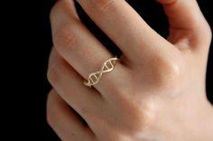 Anillo de oro ADN - ciencia joyas - anillo de plata - 3D ADN impreso anillo - anillo de ciencia usable - célula humana - genética - día de San Valentín regalo