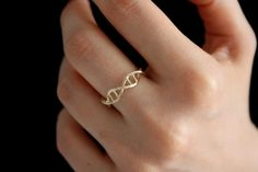 Gold DNA Ring Science Jewelry Silver Ring 3D by HappyWayJewelry