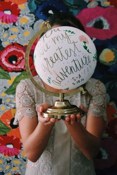 custom hand painted GLOBES!  YOU pick: 1. Quote 2. Base color 3. Design: (floral, plain dots, custom, or none)   PRICING: $75 with globe