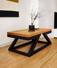 The Double Z coffee table can be used in different interiors as you can see on photos (in portfolio). Tabletop is 100% handmade and job of Nature. SIZES Table - 100x60x40 cm Tabletop - 100x60x4 cm solid adged oak wood Weight about 50 kg Ship by aero mail