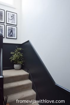 How to Add a Dado Rail to a Wall - From Evija with Love Hallway Ideas Entrance Narrow, Narrow Hallway Decorating, Stairway Decorating, Modern Hallway, Entry Hallway, Entryway Ideas, Hallway Wall Colors, Hallway Paint, Hallway Walls