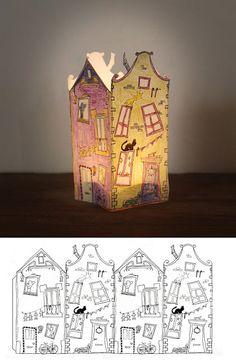 """Paperhouse, maybe for my """"Jack and the beanstalk"""" unit / Une très jolie maison à colorier et découper. Peut-être la maison de Jack dans """"Jack et le haricot magique"""", pour faire la maquette."""