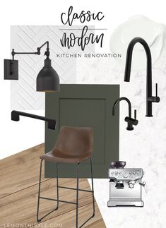 Today I'm sharing our modern classic Kitchen Design Plans! From the new floor plan to the design choices including grey green cabinets and black accents. Modern Kitchen Design, Interior Design Kitchen, Interior Design Boards, Kitchen Designs, Kitchen Ideas, Layout Design, Classic Kitchen, Green Cabinets, Kitchen Cabinets