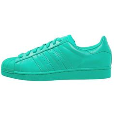 adidas Originals SUPERCOLOR SUPERSTAR Trainers hyper green ($110) ❤ liked on Polyvore featuring shoes, sneakers, adidas, light green, green sneakers, cap toe shoes, leather trainers, green shoes and flat shoes