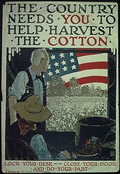 The country needs you to help harvest the cotton.  WWI