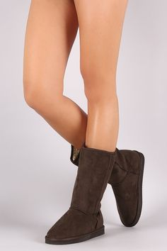 These cozy mid-calf boots feature a round toe, faux shearling shaft lining, flat heel, and cushioned insole. Pull-on construction. Material: Vegan Suede (man-made) Sole: Treaded EVA Flat Boots, Mid Calf Boots, Booty, Flats, Heels, Construction, Vegan, Fashion, Loafers & Slip Ons