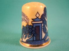 Thimble Bone China with Oriental Landscape by EgiArt on Etsy
