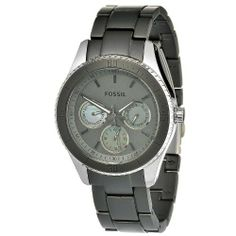 Fossil Women's ES3040 Stella Grey Aluminum and Stainless Steel Watch Fossil. $79.95. Quartz movement. Grey satin with mother of pearl subdials. Water-resistant to 50 M (165 feet). Case diameter: 37 mm. Mineral crystal. Save 41%!