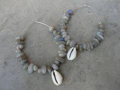 Metallic Labradorite Cowrie Shells Sterling Silver Hoops Earrings by SydneyAustinDesigns, $26.00