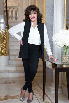 """Joan Collins wearing M&S """"You can't stop getting older but you can stop getting old. I exercise three times a week, eat a balanced diet and take vitamins C, E and omega oils."""""""