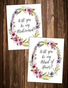"""Free Printable """"Will You Be My Bridesmaid"""" Cards"""