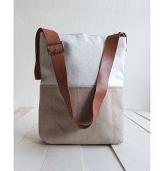 Eco Tote Bag - Beige Jute ( indian plant ) Base - Adjustable Leather Strap - Natural Canvas - Shoulder Bag - Minimal Tote Bag Striped Lining