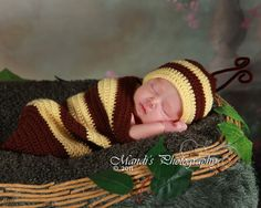 Cocoon and Hat  Bumble Bee set  newborn by CreativeDesignProps, $30.00