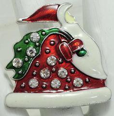 Santa Claus Ring/Rhinestone/Red/Green/Holiday/Christmas