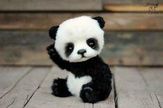 Panda oso Hugo hecho a mano artista coleccionable relleno oso Cute Panda Baby, Baby Animals Super Cute, Baby Panda Bears, Cute Little Animals, Cute Funny Animals, Cute Cats, Baby Pandas, Big Cats, Baby Animals Pictures