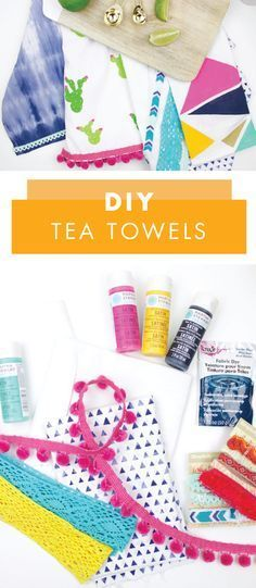 Kitchen towels are such a fun and easy way to refresh the design of your cooking space. These DIY Tea Towels for instance, scream summer decor! See all four ways you can create your own by checking out this simple craft project.