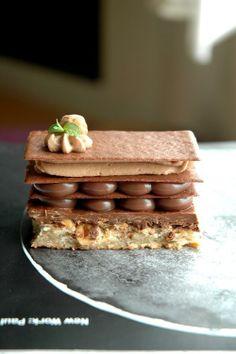 Chocolate Napoleon: hazelnut praline, milk chocolate orange ganache, chocolate tuile sheet, milk chocolate cardamom whipped cream, whole caramelized hazelnut...a lot going on. yum