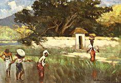 In the Rice Field - Basuki Abdullah - Realism Indonesian Art, Art Database, Watercolor Sketch, Naive Art, Realism Art, Indie, Beautiful Pictures, Landscape, Artist