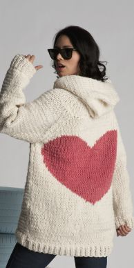 sweater heart This oversized hoodie is so Canadian snowboard bunny.  Hand Knit with Canadian wool it is cozy and warm. $299