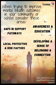 A starting point when improving mental health is awareness & data collection. It is important to establish a shared understanding of mental health. It is also critical to get a true snapshot of what is going on in your school or community. Other critical areas to consider are: - protective & risk factors in your setting - developing a sense of belonging & connection - opportunities to offer education around mental health - identifying the gaps that may exist in mental health support pathways Mental Health Support, Improve Mental Health, Data Collection, Pathways, Factors, Connection, Positivity, Community, Education