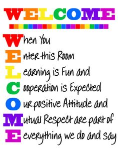 WELCOME Classroom Sign Rainbow Colors by JustForYouInvites