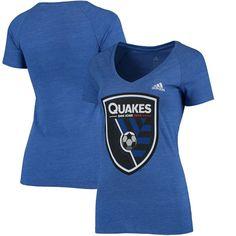 San Jose Earthquakes adidas Women's Pearlized Pattern Tri-Blend V-Neck T-Shirt - Blue