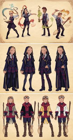 School Uniforms Concept Art More information on Ilvermorny (the North American School of Magic) was announced this week via Pottermore. Saga Harry Potter, Harry Potter Love, Harry Potter Universal, Harry Potter World, Harry Potter Uniform, Hogwarts Uniform, Desenhos Harry Potter, Fantastic Beasts And Where, Fanart