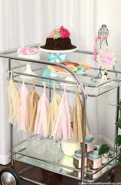 Baby Shower Ideas and Decor - set up a bar cart with sweets!