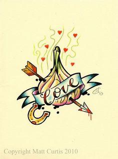 Garlic lovers tattoo design/drawing by  Mr Curtis at tribalbodyart.co.uk