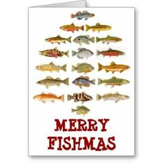 Shop Merry Fishmas Holiday Card created by thomglace. Christmas Greeting Cards, Christmas Greetings, Holiday Cards, Pun Card, Christmas Decorations, Merry, Design, Tech, Camping