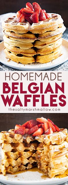 Belgian Waffle This Homemade Belgian Waffle Recipe is easy and makes delicious, authentic, Belgian waffles! These waffles are perfectly crisp and golden on the outside while being light and fluffy on the inside!This Homemade Belgian Waffle Recipe is easy Easy Waffle Recipe, Waffle Iron Recipes, Waffle Recipe With Butter, Homemade Waffle Recipes, Waffle Recipe Self Rising Flour, Waffle Recipe Almond Milk, Classic Waffle Recipe, Easy Homemade Recipes, Brunch Recipes