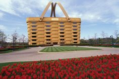 Ok so I would not have this in my home or hang it as artwork or anything, but it is so genius I had to give it a shout out! Longaberger Baskets Headquarters. Love it!