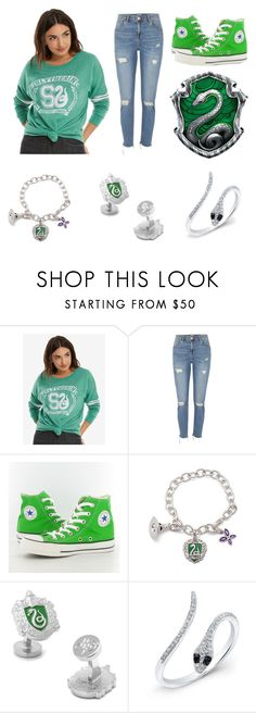 """Slytherin Pride"" by stonecldfxlol on Polyvore featuring Warner Bros., River Island and Converse"