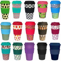 Öko Coffee to Go Kaffe Tee Becher eCoffee Cup Travel Mug Thermo Silikonring BPA frei Basket Case - Schwarz Weiss