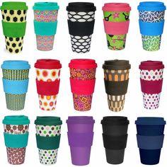 Öko Coffee to Go Kaffe Tee Becher eCoffee Cup Travel Mug Thermo Silikonring BPA frei Basket Case - Schwarz Weiss
