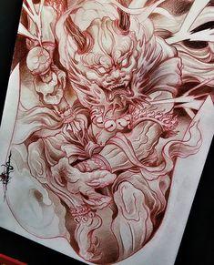 "5,611 Likes, 14 Comments - Irezumi Collective (@irezumicollective) on Instagram: ""⚡️ Artwork by: Sonnee Location: Jakarta, Indonesia Artist's IG: @sonneetattoo #irezumicollective"" Chinese Dragon Tattoos, Japan Tattoo, R Tattoo, Airbrush Art, Tattoo Photos, Psychedelic Art, Diablo, Samurai, Devil"