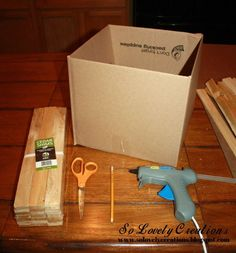 Super easy idea to turn a simple cardboard box into a beautiful wooden box! Materials: Cardboard Box – Cedar Shims – Scissors – Pencil – Glue… Super easy idea to turn a sim Easy Woodworking Projects, Wood Projects, Woodworking Furniture, Teds Woodworking, Diy Storage Boxes, Storage Ideas, Shelving Ideas, Toy Storage, Organization Ideas